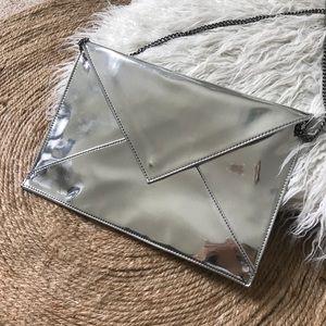 Zara Silver Mirror Envelope Clutch